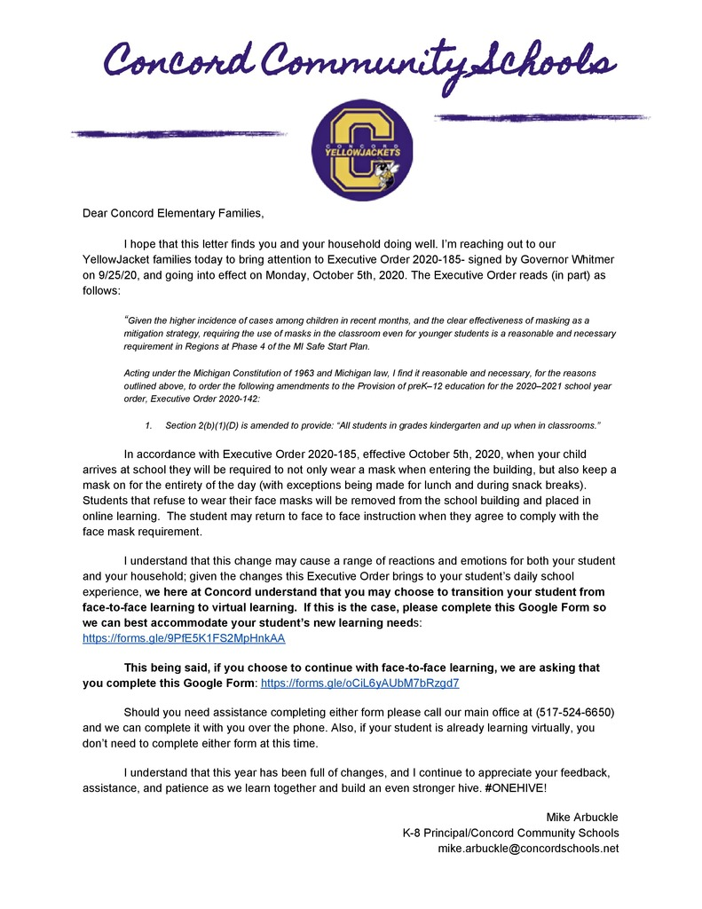 Letter to Concord Families 9/29/20