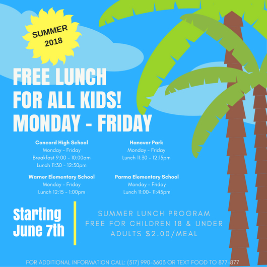 FREE Lunch for children 18 & under