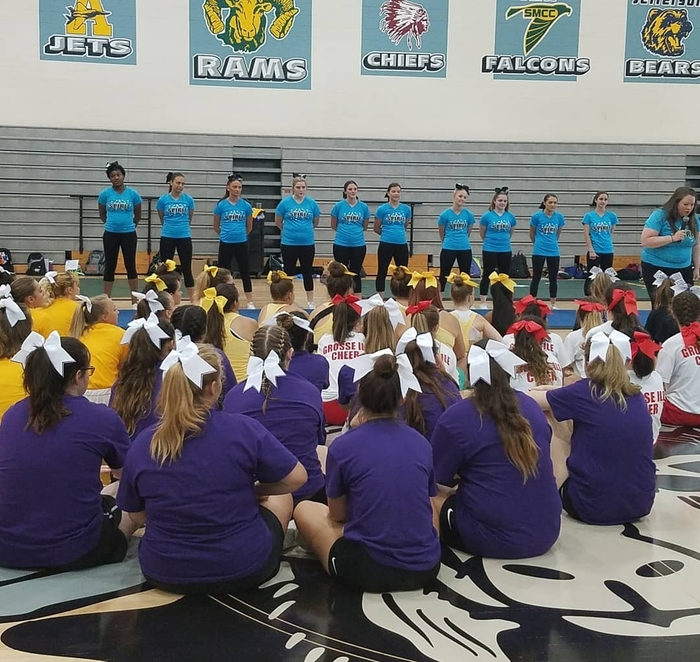 North American Spirit cheer camp staff explains safety before attempting each stunt.