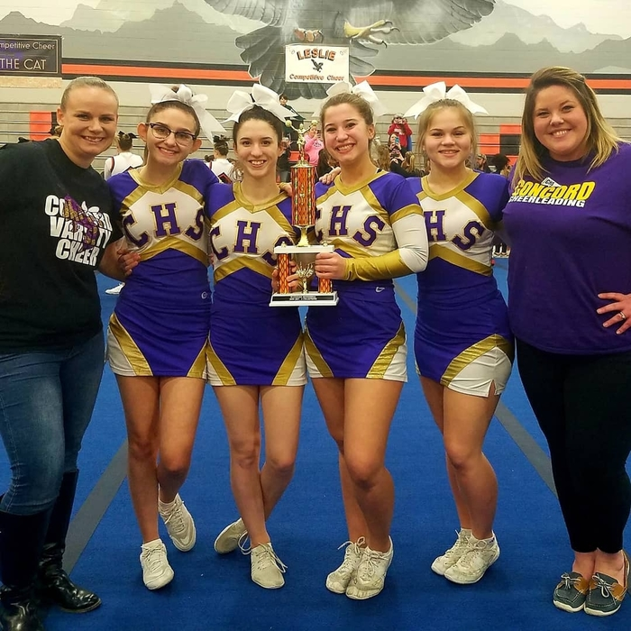 Concord Varsity cheer team 1st place at Leslie 1-5-19