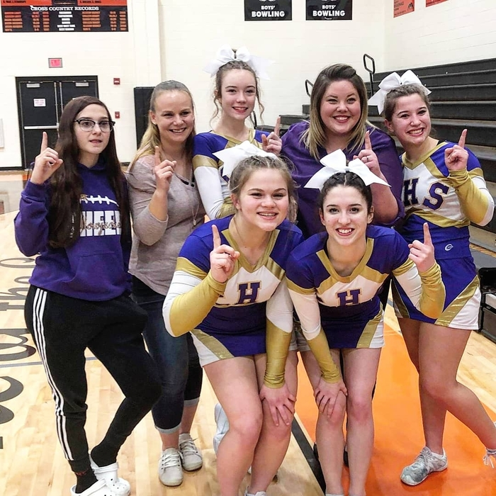CHS Varsity cheer first place Big 8 on 2-4-19