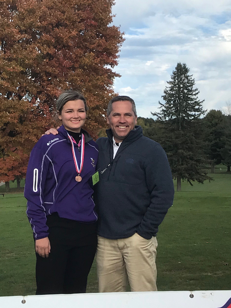 Khloe with Coach Veydt after her 10 place finish at the MHSAA girls LP finals