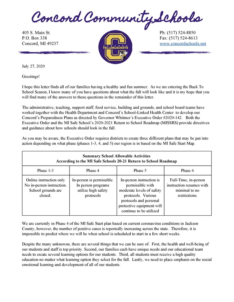 COVID-19 Preparedness and Response Plan Family Letter pg. 1